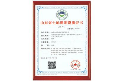 山东省土地规划资质证书
